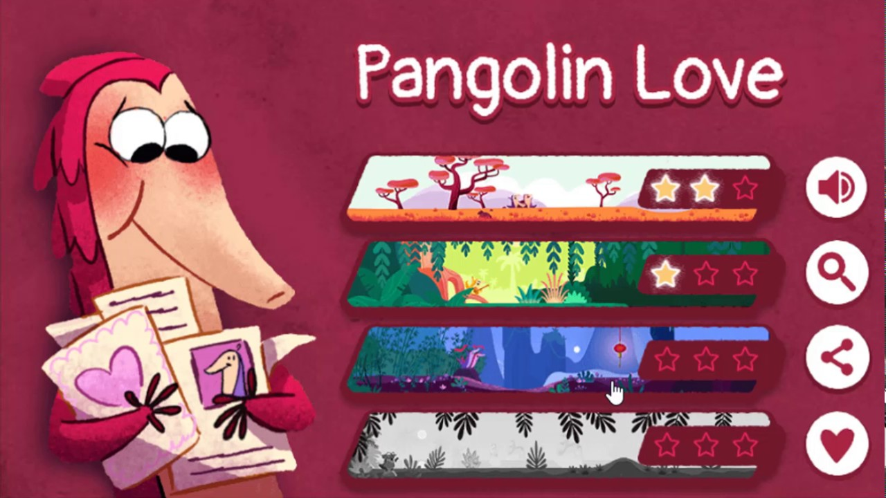 Google Doodle Valentines Day Game 2017 Pangolin Love