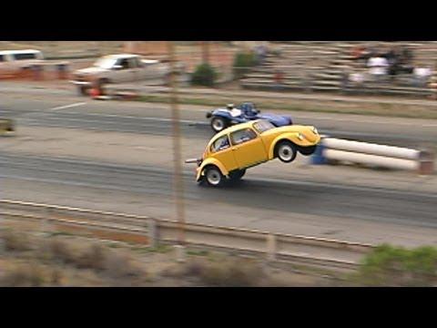 Giant Wheelie by a Turbocharged VW Beetle, Carlsbad Raceway drag strip