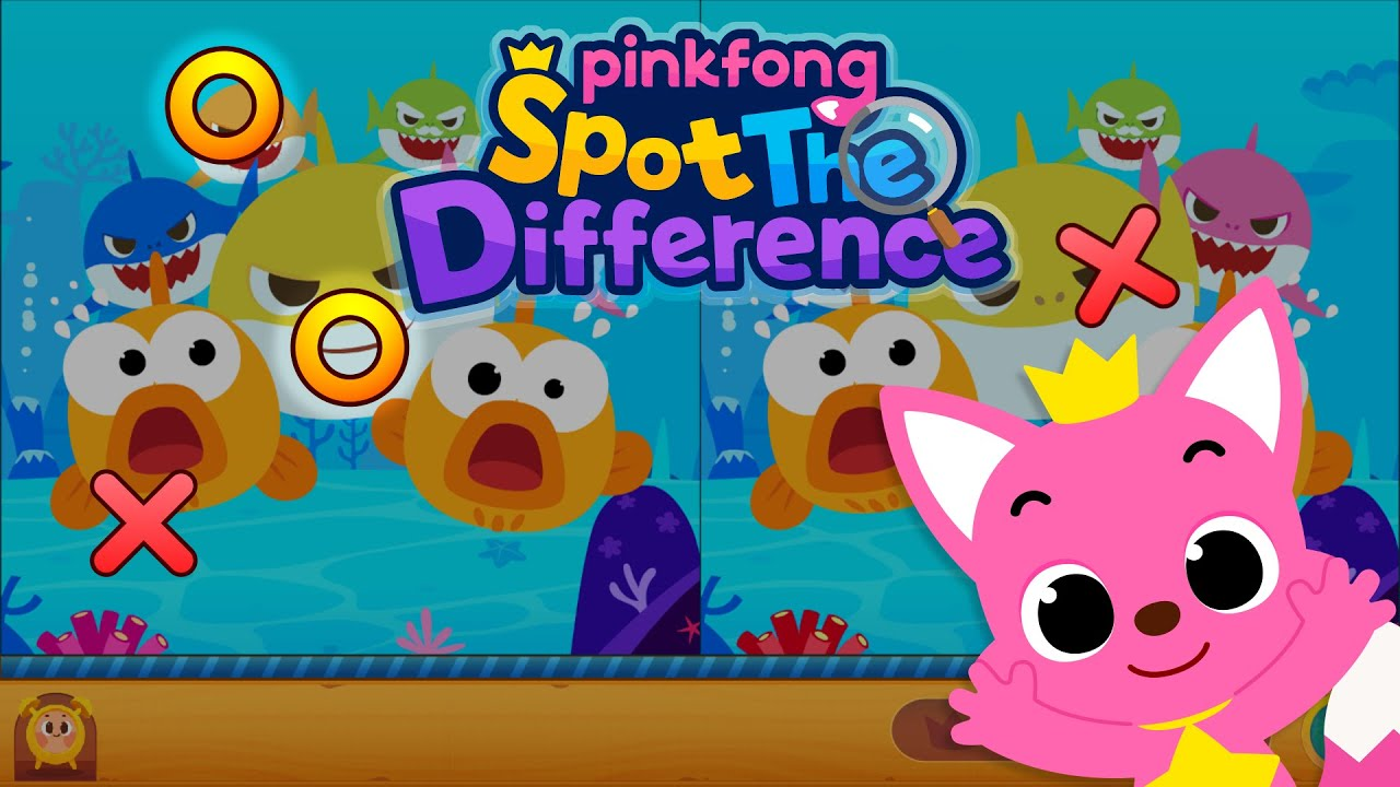 Pinkfong Spot the difference: Finding Baby Shark | Pinkfong, Bimbo Squalo! Canzoni per Bambini