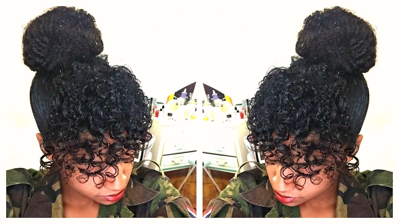 Curly Bangs Amp Faux Bun Natural Hair Tutorial Youtube
