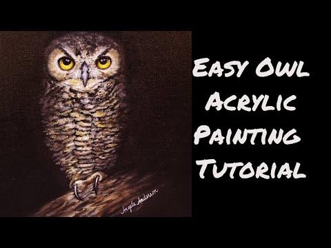 Spooky Owl Acrylic Painting LIVE Tutorial