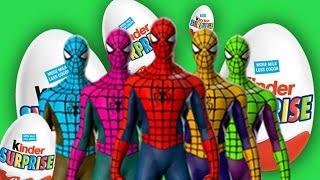 Киндер Сюрприз с человеком пауком и машинками Учим цвета видео мультик для детей с киндером