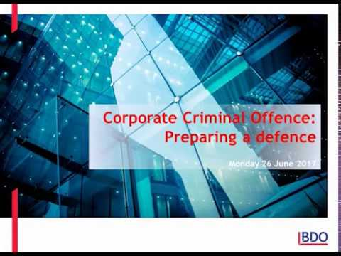 Corporate Criminal Offence Webinar - Preparing a Defence