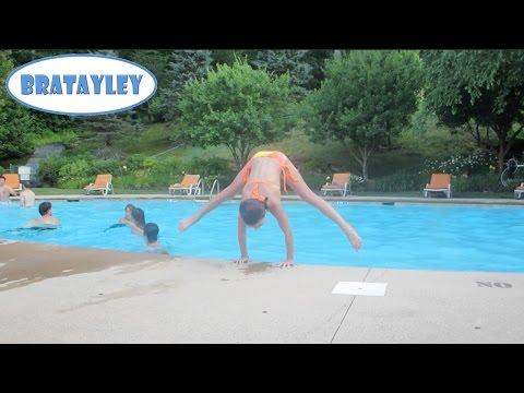 Gymnastics Tricks at the Pool! (WK 185.7) | Bratayley