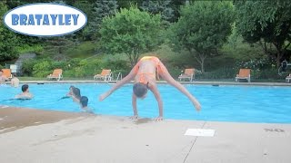 Gymnastics Tricks at the Pool! (WK 185.7) | Bratayley