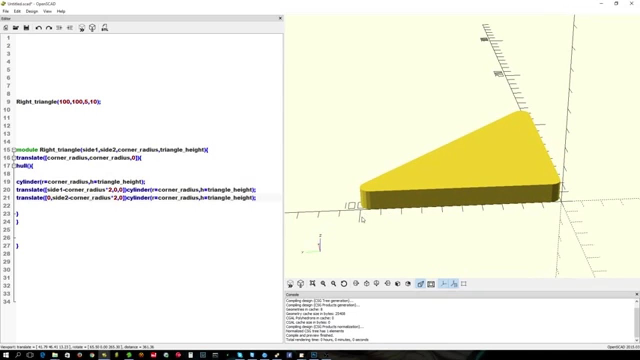 Openscad : rounded and pointy right angle triangles