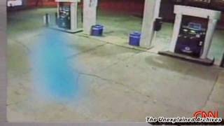 ghost caught on cctv at a gas station