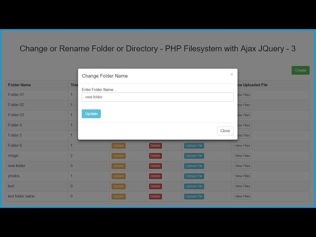 Change or Rename Folder or Directory Name - PHP Filesystem with Ajax JQuery - 3