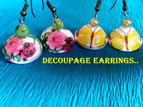 Quilled decoupage jhumka tutorial | How to make beautiful decoupage earrings