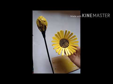 simple-to-make-sunflower-🌻with-tea-glass-/reuse-waste-disposal-tea-glass-/best-out-of-waste/😍🌻🌻