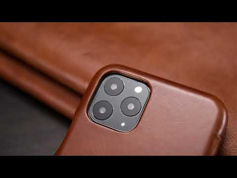 ICARER 復古曲風 iPhone 11系列 磁吸側掀 手工真皮皮套