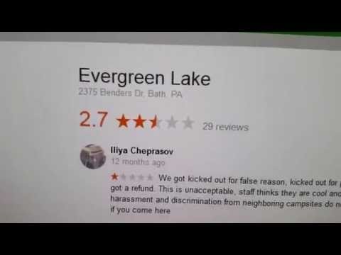 Evergreen Lake Fishing and Camping in Bath, PA (Review)