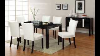 7 Pc. Lamia I Contemporary Style High Gloss Black Wood Finish Dining Set With Wh