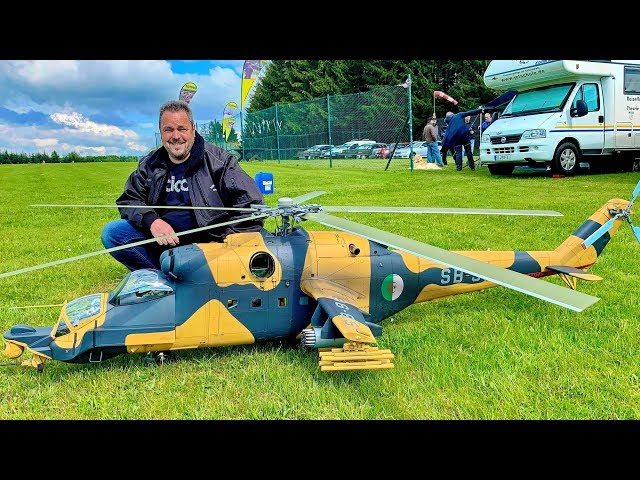 STUNNING GIANT RC MIL MI-24  SUPERHIND SCALE MODEL TURBINE RUSSIAN HELICOPTER FLIGHT DEMO PART 1