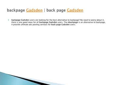 Gadsden backpages
