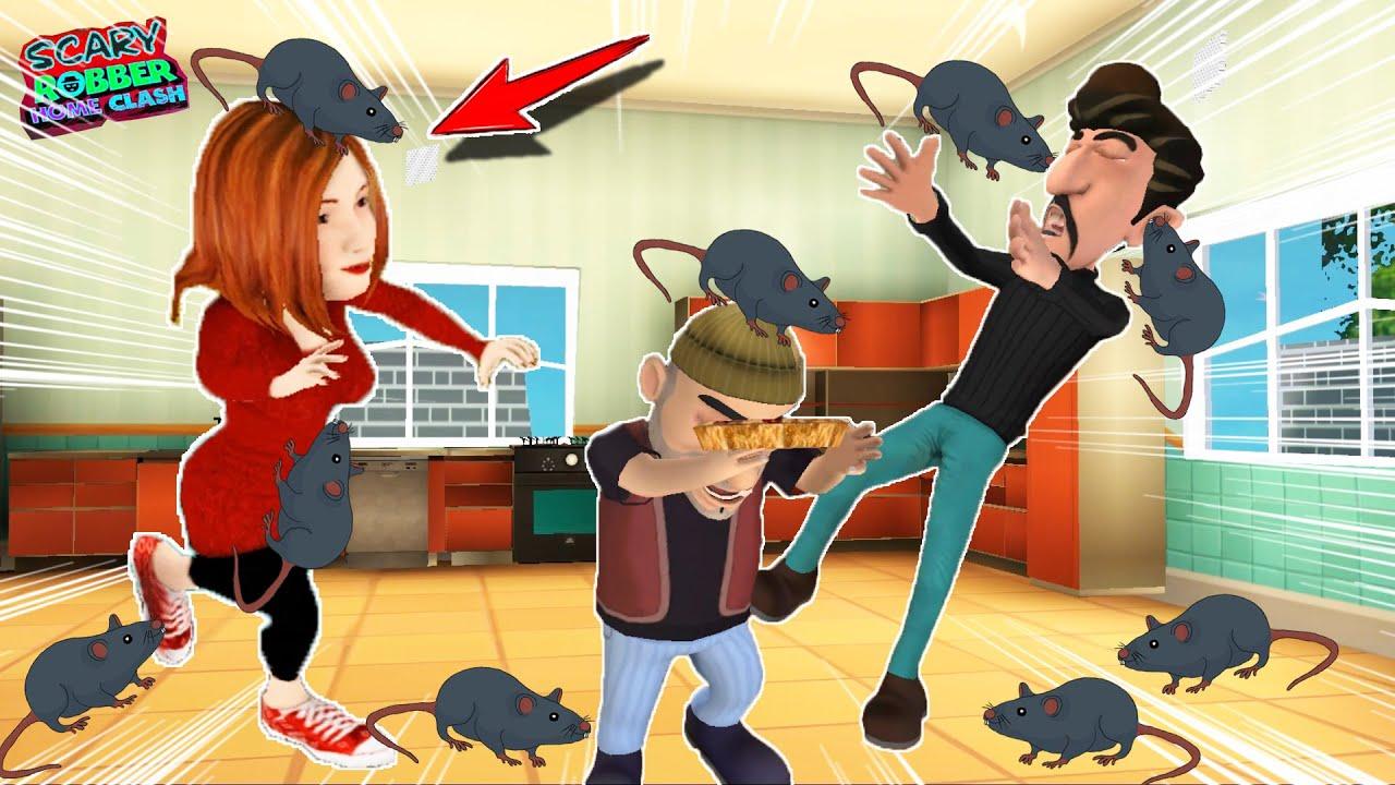 SEVGİLİ KAPIŞMASINDA FARE ŞAKASI YAPTIK 🤣 Scary Robber Home Clash Yeni Bölüm