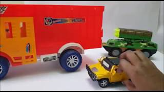Hummer toy, Truck, police car and missile launcher toys explanation