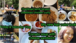 #Vlog || My new hair color look😂 || Tomato soup with cheese sandwich recipe ||Friday & Saturday Vlog