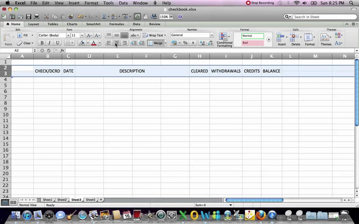 Automated excel checkbook register basics youtube automated excel checkbook register basics alramifo Images
