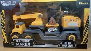 MỞ HỘP XE ĐỒ CHƠI CHỞ GỖ - MACHINE MAKER
