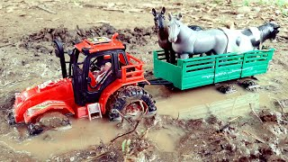 Toy Tractor Stuck In Mud | Toy Tractors Transport Animals |Tractor Videos For Kids | Kids Video |