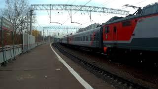 ЭлП2К-166(№121Й Саранск-Москва), ЭП20-038(№070Й Москва-Липецк) платформа Электрозаводская 21.10.2019