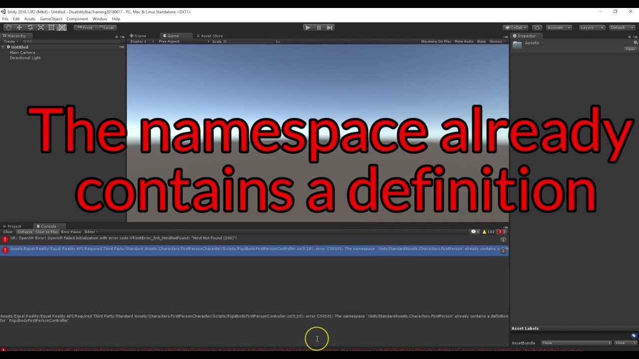 Unity Error - the namespace **** already contains a definition  Fix - Equal  Reality SDK