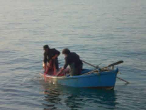 Pesca Con Reti Da Posta Zona Di Mare Villaggio Dei Pescatori