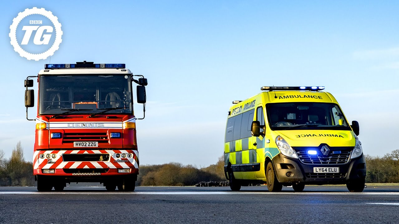 TRACK BATTLE: Fire Engine vs Ambulance vs Police Van | Top Gear: Series 28