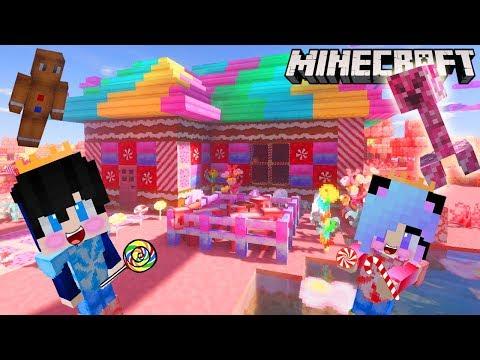 Minecraft สร้างบ้านขนมหวาน candy สุดน่ารักมุ้งมิ้ง