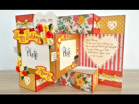 Red And Yellow Roses Tri Shutter Birthday Card Youtube