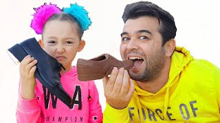 Öykü and Dad staget a chocolate challenge