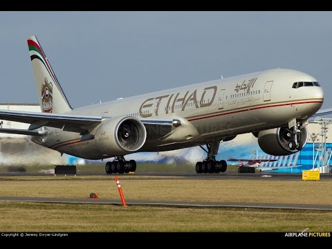Etihad Airways Boeing 777-3FX (A6-ETQ) Take Off from ABU DHABI