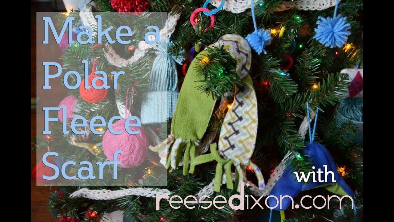 how to make a polar fleece scarf christmas diy - Christmas Fleece