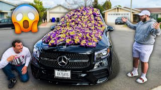 WE FILLED HIS NEW CAR WITH 1000 BAGS OF TAKIS!!