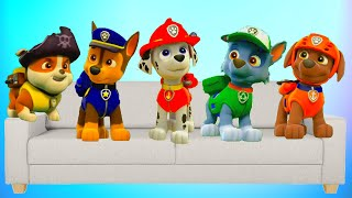 Five Little Paw Patrol Jumping On The Bed. Nursery Rhymes and Songs