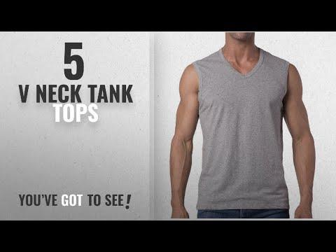 Top 10 V Neck Tank Tops [Winter 2018 ]: Mens Loose Sleeveless V-Neck T-Shirt / Gray / L (42
