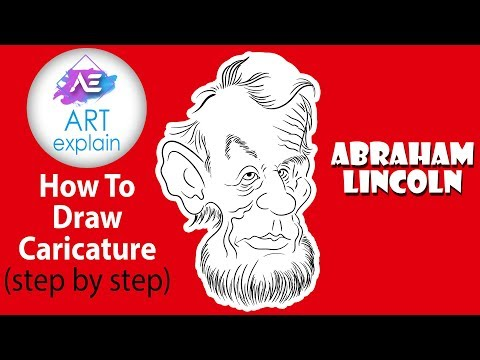 EASY LINE DRAWING Abraham Lincoln Caricature | Best Way Draw Caricatures | Art Explain