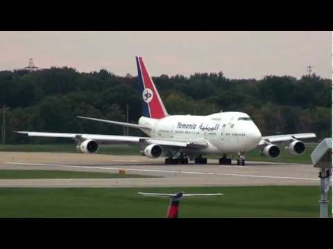 Yemen 747SP Heavy Take Off Cleveland, Ohio