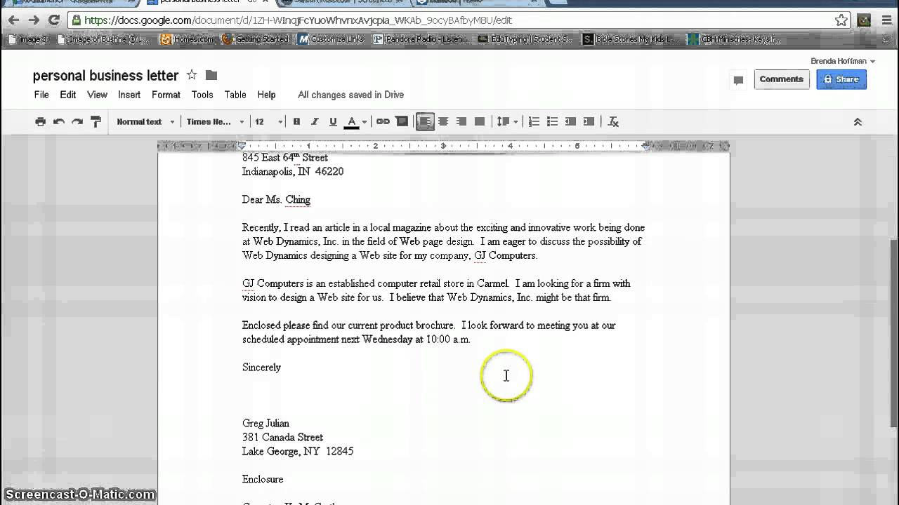 Personal Business Letter FormatGoogle Documents YouTube