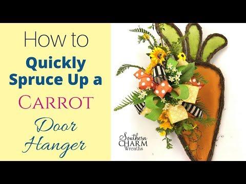 Decorating a Carrot Door Hanger | Carrot Door Wreath Idea