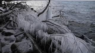 厳冬期の風物詩、しぶき氷 北海道支笏湖で