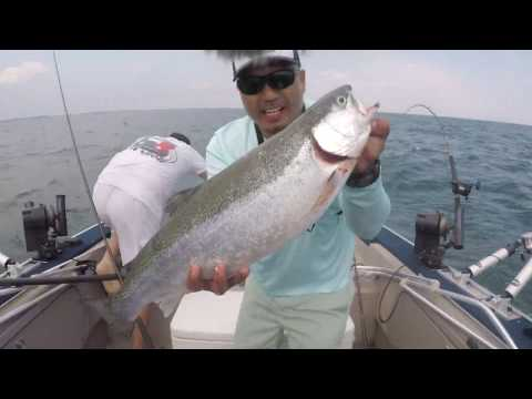 Trolling For LAKE ERIE RAINBOW TROUT AND WALLEYE - The BITE Was On FIRE!!!