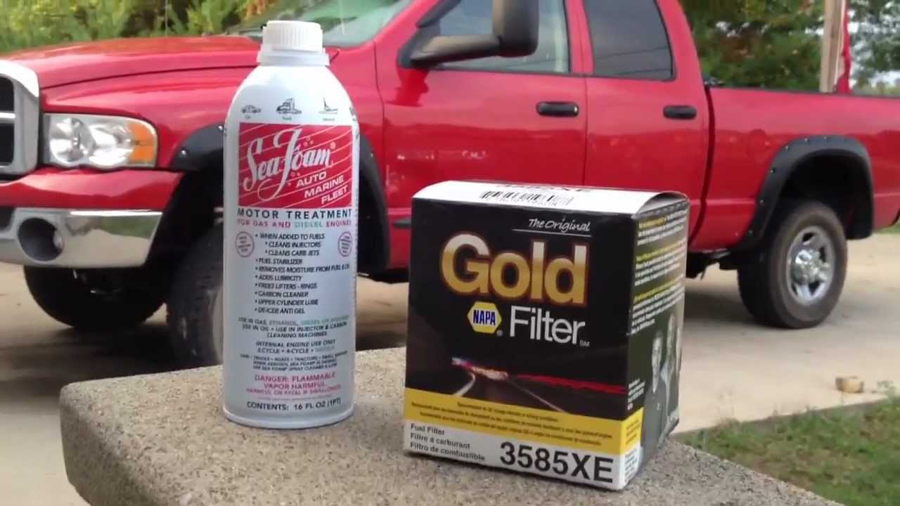 How To Replace Cummins Fuel Filter With Sea Foam Youtube 1999 Dodge Diesel Change