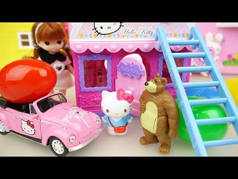 Hello Kitty and baby doll house and car toys play