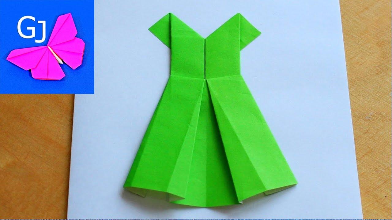 Платье оригами на открытках