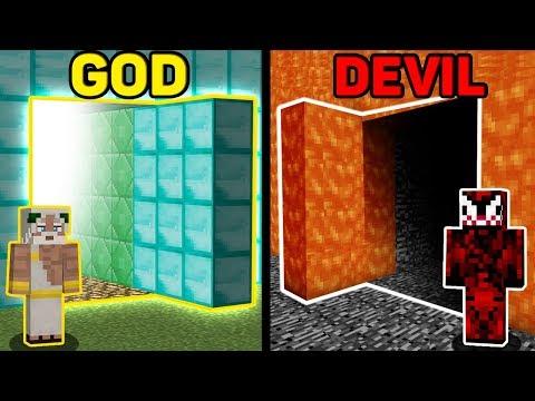 Minecraft Battle: God vs Devil : Secret Door Challenge in Minecraft