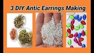 3 DIY Antic Chandbali earrings making at home