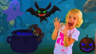 One Little girl in a fairytale Forest under Halloween. Shark Family Baby Song