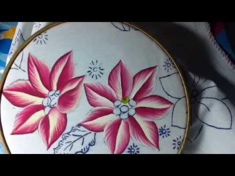 Pintura en tela nochebuenas rosa 1 con cony youtube - Pintura en tela motivos navidenos ...
